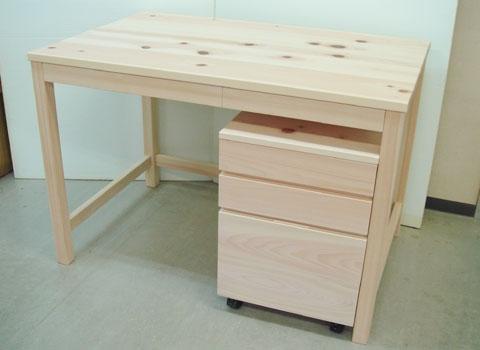 節ありひのき机、学習机 椅子と3点セット