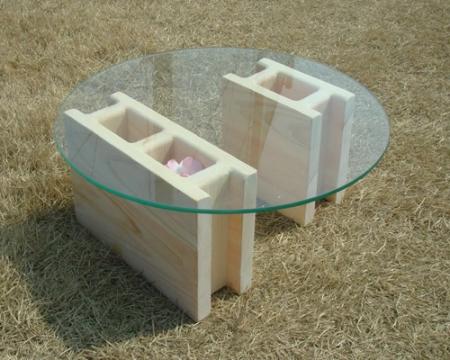 ひのきブロック ガラステーブル