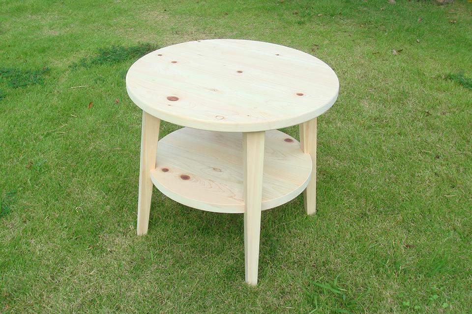 丸のテーブル ひのき無垢