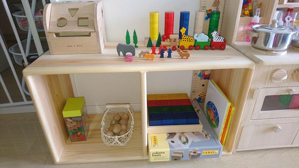 ひのきカラーボックスお子様キッチンの作業台に NO1706022