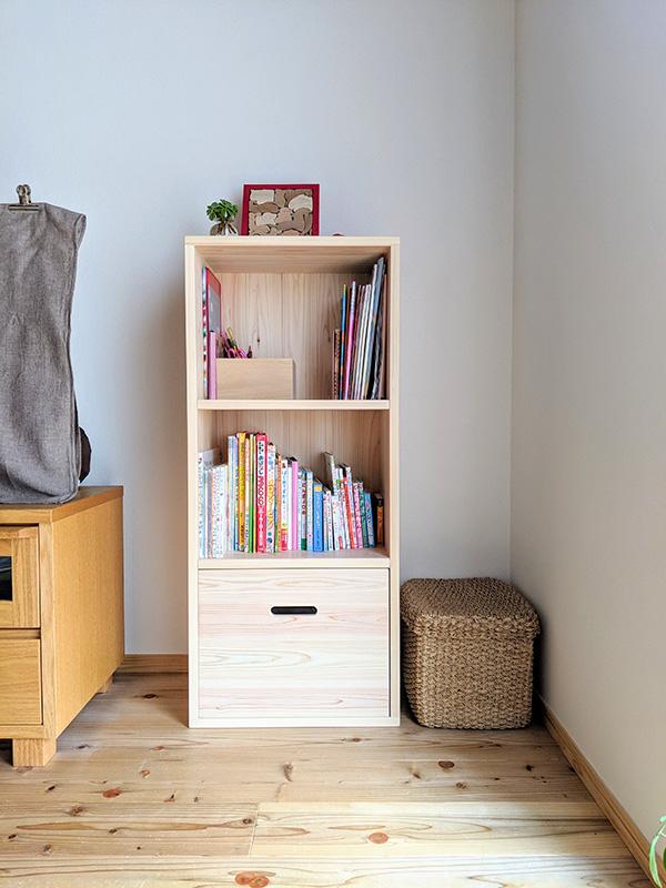 ひのきカラーボックス お子様の本棚収納棚