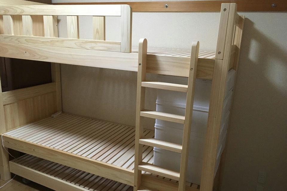 二段ベッドと収納式ベッドで3段のベッドを購入のお客様の声