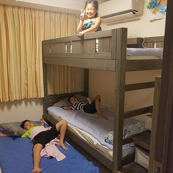 ひのき階段付き二段ベッド