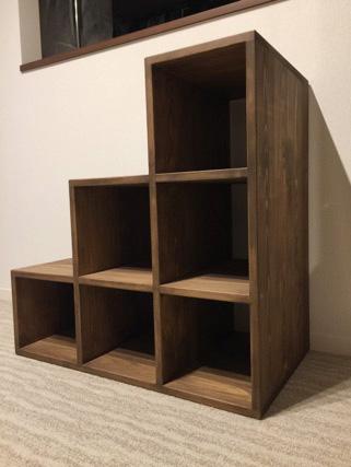 ひのき階段家具 収納棚階段