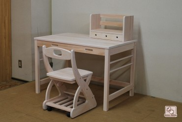 ひのき学習机 3点セット 健康塗料の白仕上げ1312018