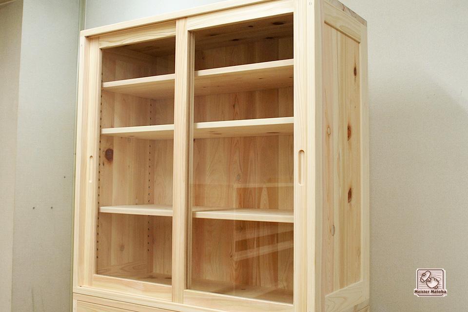 無垢檜(ひのき)食器棚3 引き戸タイプ