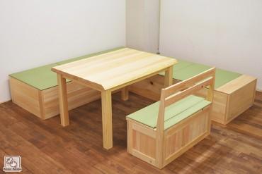 畳式ひのき箱イス ダイニングセット 1402050