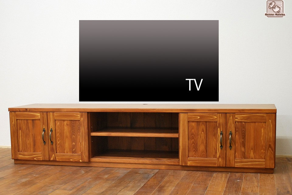 幅180cmひのきテレビ台 マホガニクリヤ着色 NO1501021