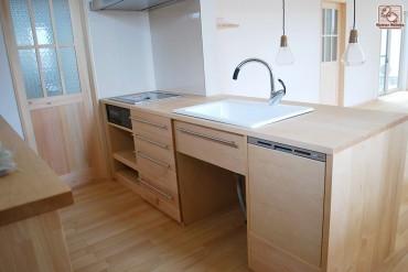 システムキッチン台両面カウンター式無垢かえで材  NO1503032-1