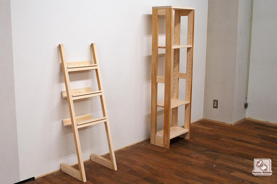 不要のはしごなどで ひのき棚