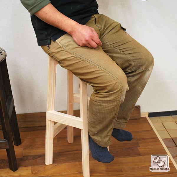 ひのき木製丸イス 足掛け付き