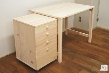 引き出しの無いひのき机と4段のひのき袖引出し  NO1503036