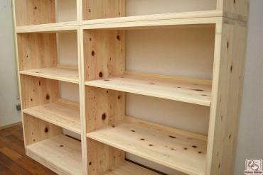 無垢ひのき幅82cm高さ210cmの本棚 バックオープン NO1509022