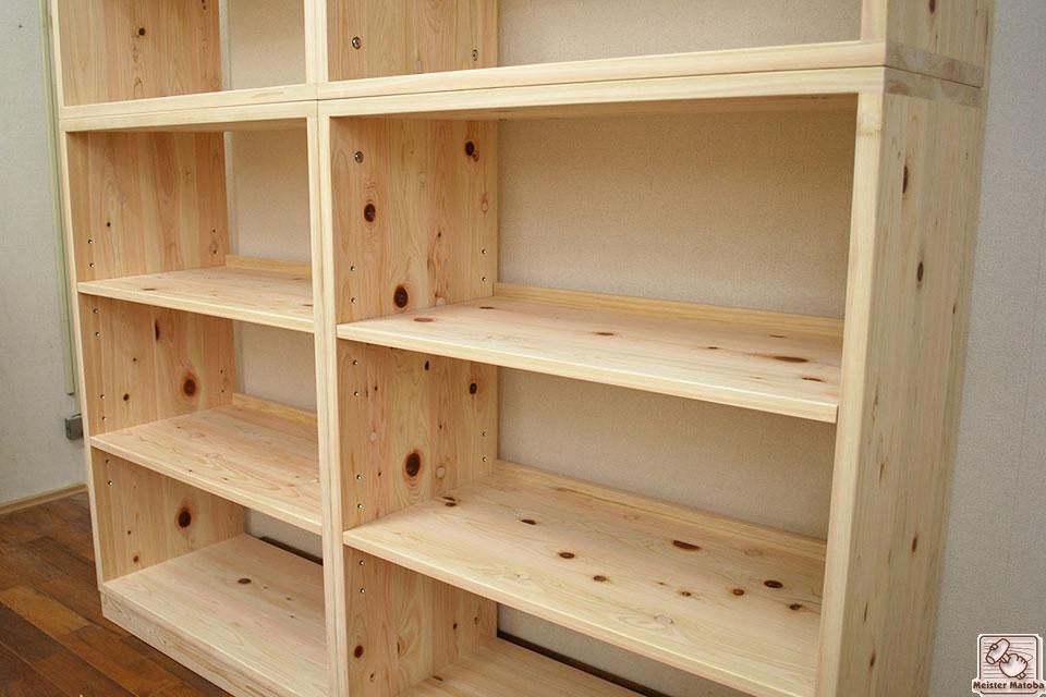 幅82cm高さひのき210cmの本棚 バックオープン
