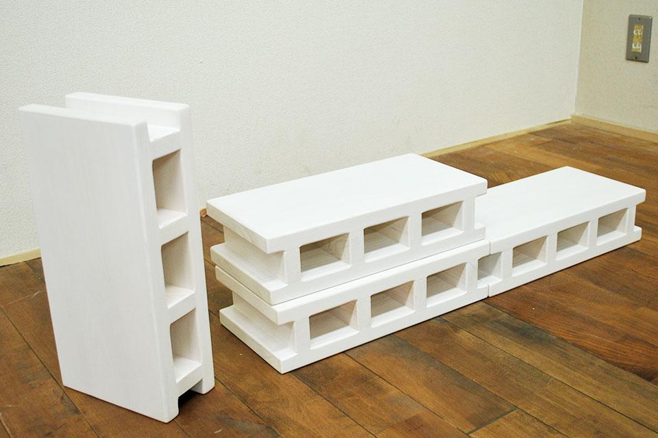 木製ひのきブロック 白
