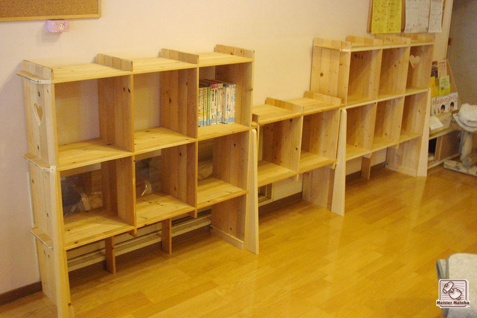 壁面本棚、ブックシェルフ 保育所に納品