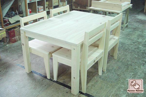 ひのき食堂テーブルと椅子の食堂セット テーブル組立式