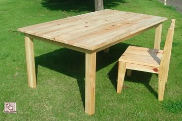 無垢ひのき食堂セット テーブルは木のミミあり NO0805024