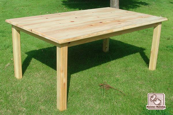無垢ひのき食堂セット テーブルは木のミミあり