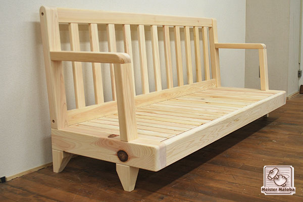 無垢ひのき木製ソファー