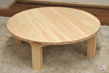 無垢ひのき円卓 丸いちゃぶ台 脚折りたたみ式 NO1601025