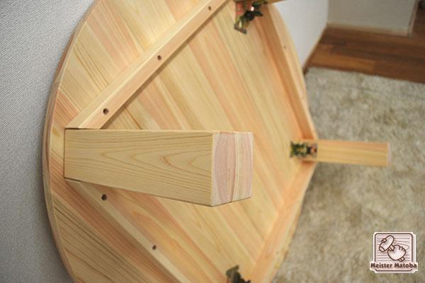 無垢ひのき円卓 丸いちゃぶ台 脚折りたたみ式