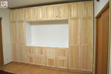 3m45cmの壁面家具 おもて扉部分無垢ひのき NO1110007