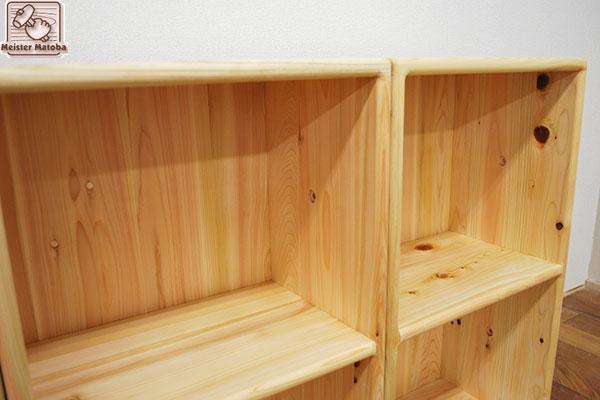 無垢ひのき家具 角の丸い家具カラーボックス