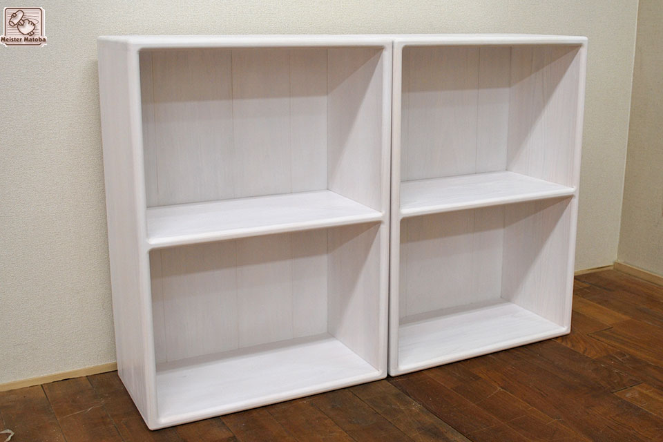 健康塗料の白色仕上げのひのきカラーボックス幅50cm