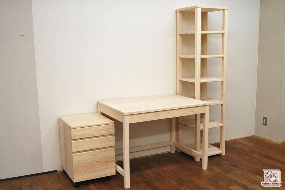 ひのき家具、学習机と棚