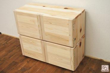 ひのきカラーボックスのアレンジ商品 扉付 NO1706033