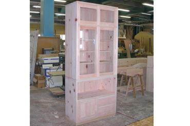 無垢ひのき高さ205cm本棚 食器棚にも 0406014