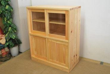 無垢ひのき食器棚幅90cm高さ110cm NO1107028