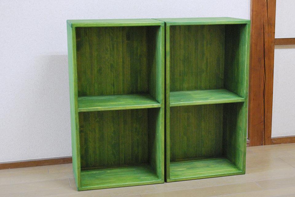 無垢ひのきカラーボックス緑色 グリーン