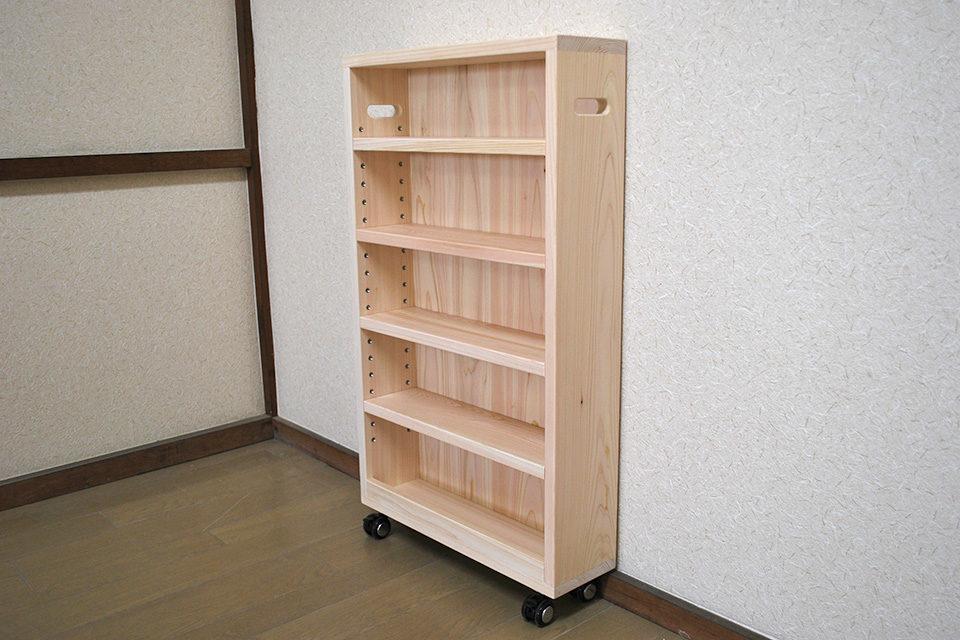 奥行の浅い 隙間家具のようなキャスター付き棚 1809015-2