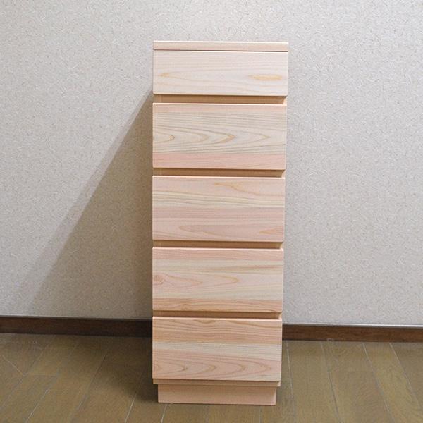 ひのき幅30cmの細いチェスト 引き出し5段