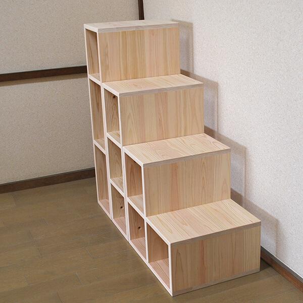 無垢ひのき階段収納オープンボックスタイプ1