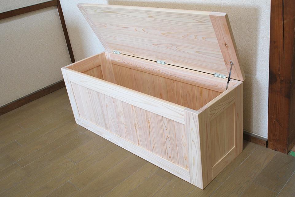 無垢ひのき箱イス収納付きボックス椅子