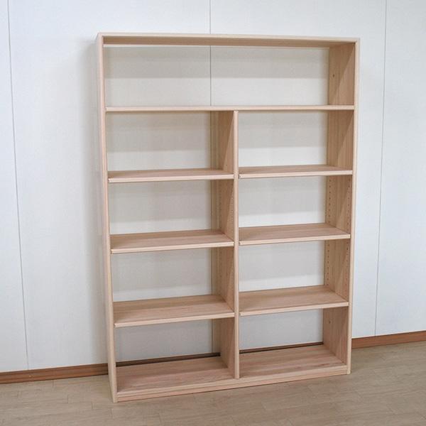 無垢ひのき本棚・オープンラック・ブックシェルフ 幅115cm