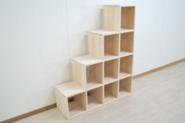 ひのき木製階段オープン収納付き 幅30cm高さ4段120cm 1904052
