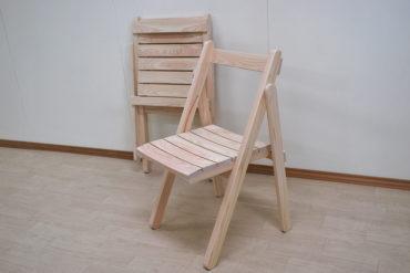 ひのき木製折りたたみ椅子 座面カーブあり