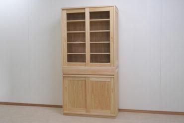 幅100cmの無垢ひのき食器棚3棚板追加 くるみオイル仕上げ 1906007