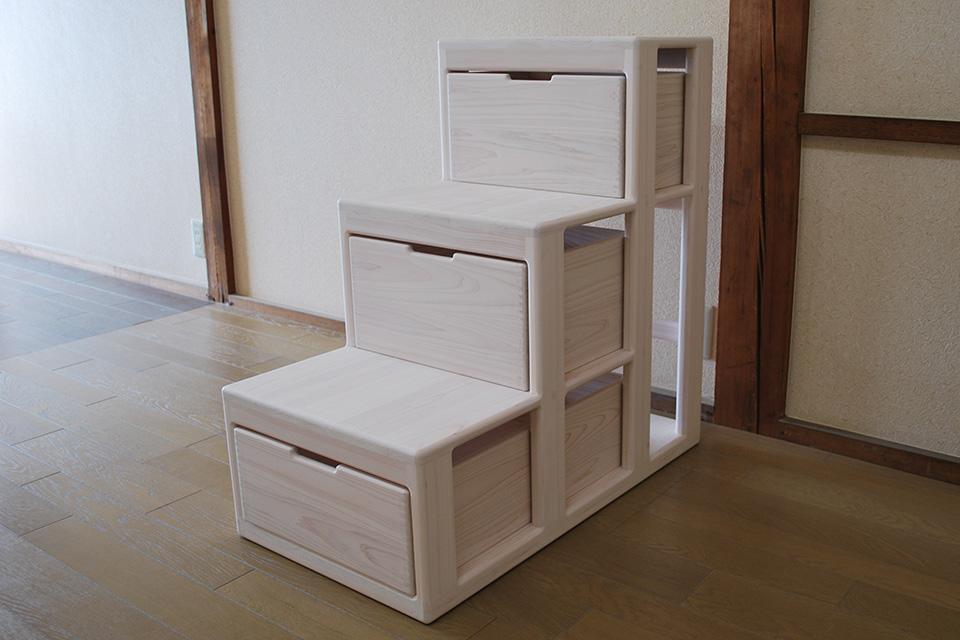 ひのきオーダー階段家具、階段収納 白仕上げ 1909046