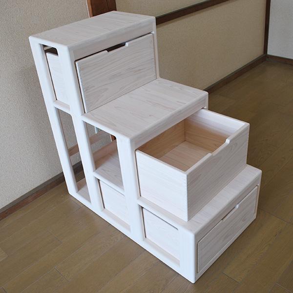二段ベッドにロフトにひのきオーダー階段 階段収納家具