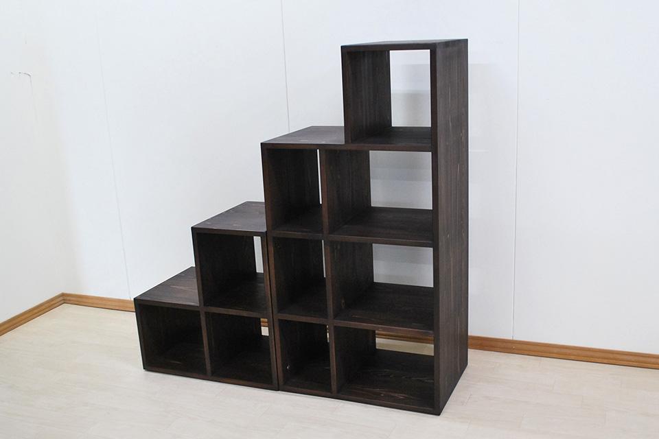 収納する物のサイズに合わせた階段収納家具 オープンラック 1910013