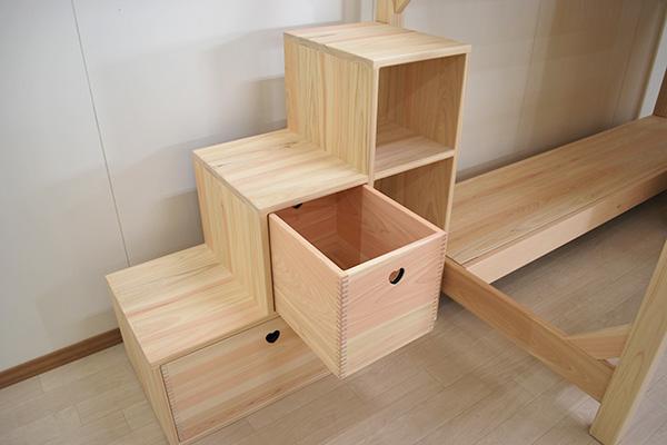 ひのきボックス階段 収納ボックス付き1911010-2