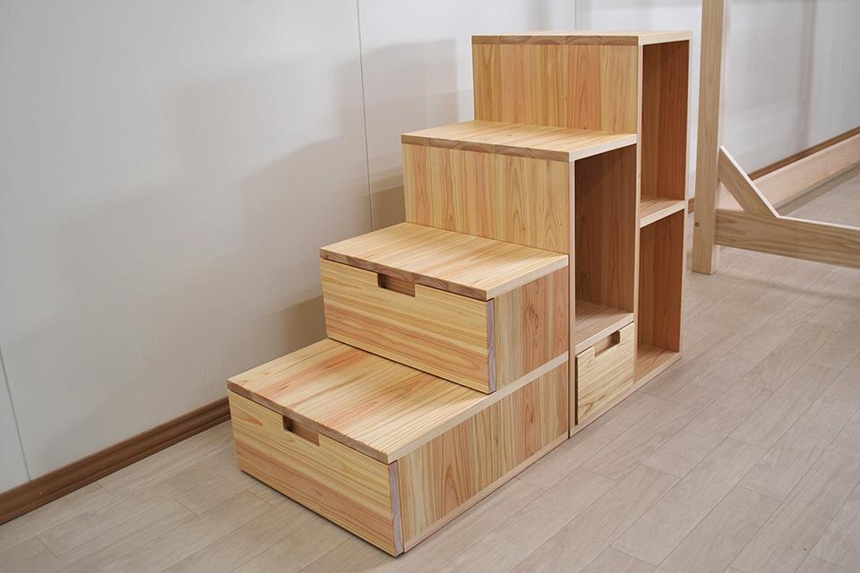 階段家具4段高さ80cm 引き出しや収納スペース付き 2002033
