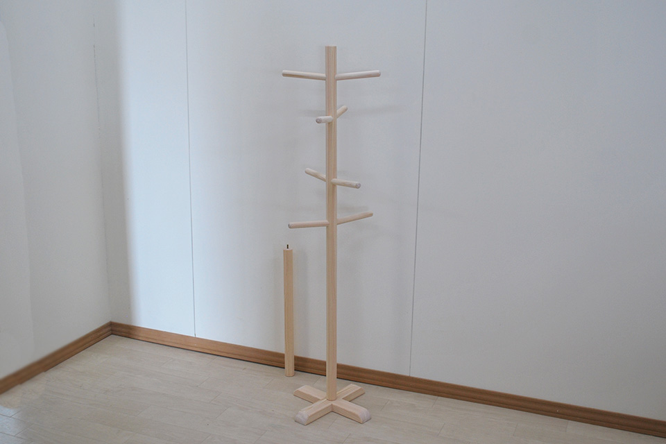 無垢ひのきポールハンガー 高さ120cmと190cm 2004020