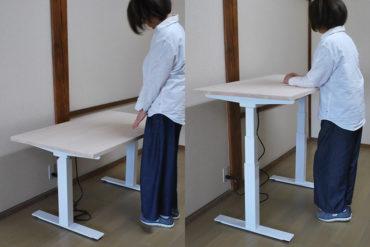 天板昇降するひのき机 その時の気分によって高さを変えれます 201805