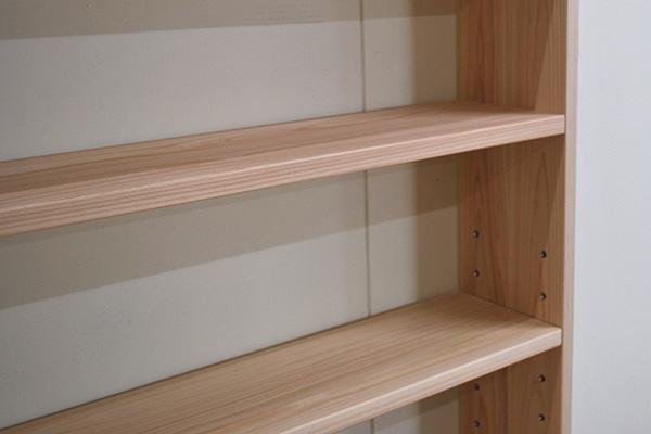 背板無しオープンひのき本棚 高さ190cm 奥行17cm浅め 2002005